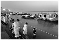 Ritual bath in the Ganga River at dawn. Varanasi, Uttar Pradesh, India (black and white)