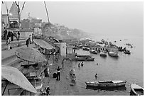 Foggy dawn on the banks of the Ganges River. Varanasi, Uttar Pradesh, India (black and white)