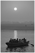 Boat on the Ganges River at sunrise. Varanasi, Uttar Pradesh, India (black and white)