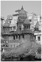 Manikarnika Ghat, most auspicious place to be cremated. Varanasi, Uttar Pradesh, India (black and white)