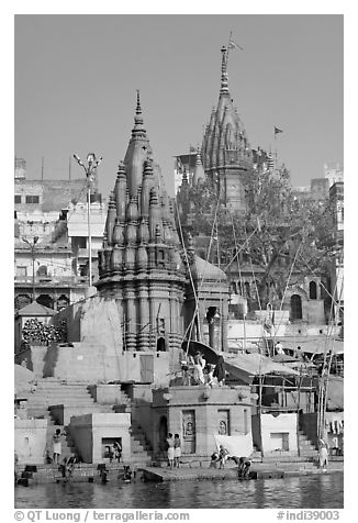 Hindu temples on the riverbank of the Ganga River. Varanasi, Uttar Pradesh, India (black and white)