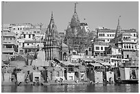Temples on riverbank of the Ganges, Manikarnika Ghat. Varanasi, Uttar Pradesh, India (black and white)