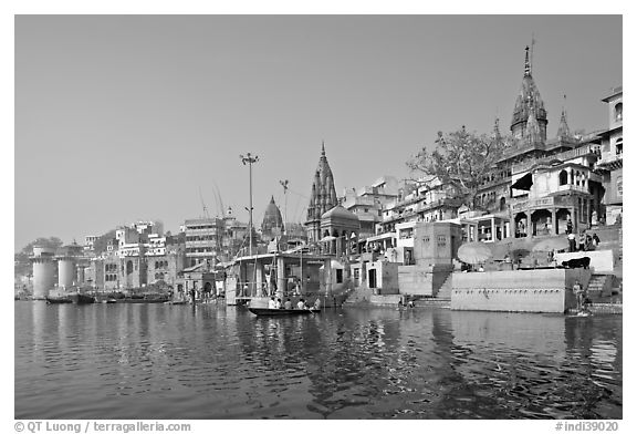 Ganges riverbank, morning. Varanasi, Uttar Pradesh, India (black and white)