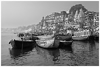 Ganges River, with boats and Dasaswamedh Ghat. Varanasi, Uttar Pradesh, India (black and white)