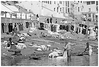 Laundry washed and hanged on Ganges riverbank. Varanasi, Uttar Pradesh, India ( black and white)