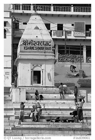 Shrine and steps, Kshameshwar Ghat. Varanasi, Uttar Pradesh, India (black and white)