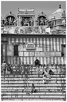 Temple with colorful stripes and steps. Varanasi, Uttar Pradesh, India (black and white)