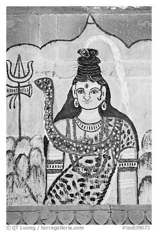 Mural painting of hindu deity. Varanasi, Uttar Pradesh, India (black and white)