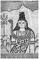Mural painting of hindu deity. Varanasi, Uttar Pradesh, India ( black and white)