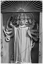 Multi-headed Hindu deity. Varanasi, Uttar Pradesh, India (black and white)