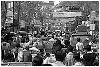 Street Gridlock. Varanasi, Uttar Pradesh, India ( black and white)