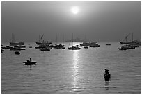 Mumbai harbor, sunrise. Mumbai, Maharashtra, India (black and white)
