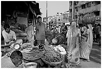 Vegetable stand, Colaba Market, Colaba Market. Mumbai, Maharashtra, India (black and white)