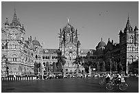 Chhatrapati Shivaji Terminus (Victoria train station), late afternoon. Mumbai, Maharashtra, India (black and white)