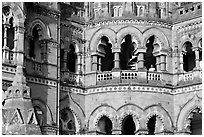 Arched openings on facade, Chhatrapati Shivaji Terminus. Mumbai, Maharashtra, India (black and white)