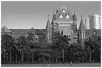 High Court, late afternoon. Mumbai, Maharashtra, India (black and white)