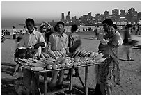 Corn stall at twilight, Chowpatty Beach. Mumbai, Maharashtra, India ( black and white)