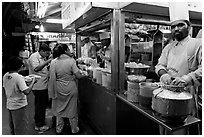 Panipuri stall, Chowpatty Beach. Mumbai, Maharashtra, India ( black and white)