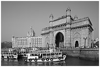 Gateway of India and Taj Mahal Palace, morning. Mumbai, Maharashtra, India (black and white)