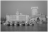 Taj Mahal Palace and Gateway of India. Mumbai, Maharashtra, India (black and white)