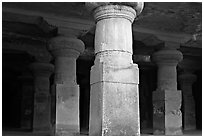 Pilars in main cave, Elephanta Island. Mumbai, Maharashtra, India (black and white)