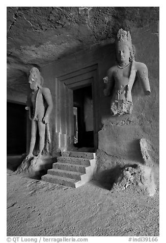 Siva shrine, main  Elephanta cave. Mumbai, Maharashtra, India (black and white)