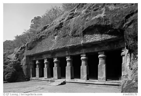 Outside of rock-cut cave, Elephanta Island. Mumbai, Maharashtra, India (black and white)