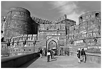 Amar Singh Gate, Agra Fort. Agra, Uttar Pradesh, India (black and white)