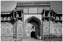 Gate of Jehangiri Mahal, Agra Fort. Agra, Uttar Pradesh, India (black and white)