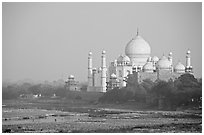 Taj Mahal seen from the Agra Fort. Agra, Uttar Pradesh, India (black and white)
