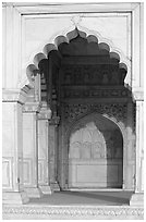 White marble rches, Khas Mahal, Agra Fort. Agra, Uttar Pradesh, India (black and white)