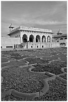 Anguri Bagh and Khas Mahal, Agra Fort. Agra, Uttar Pradesh, India (black and white)