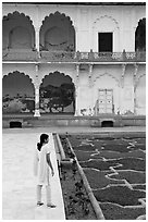 Woman in Anguri Bagh garden, Agra Fort. Agra, Uttar Pradesh, India (black and white)