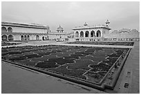 Anguri Bagh garden and Khas Mahal palace, Agra Fort, dusk. Agra, Uttar Pradesh, India (black and white)