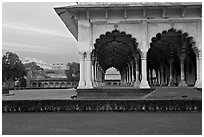 Diwan-i-Am and Moti Masjid in background, Agra Fort. Agra, Uttar Pradesh, India (black and white)