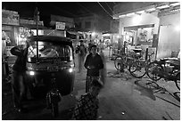 Rickshaw and street by night, Taj Ganj. Agra, Uttar Pradesh, India (black and white)