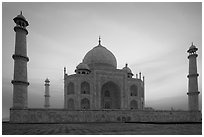 Taj Mahal at sunrise. Agra, Uttar Pradesh, India (black and white)
