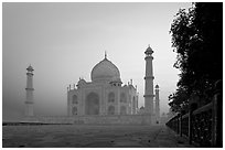 Mausoleum at sunrise, Taj Mahal. Agra, Uttar Pradesh, India (black and white)