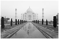 Ornamental gardens and Taj Mahal, sunrise. Agra, Uttar Pradesh, India (black and white)