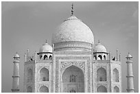 White domed marble mausoleum, Taj Mahal, early morning. Agra, Uttar Pradesh, India (black and white)