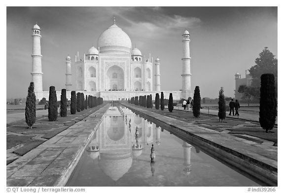 Black and white picture photo taj mahal and reflection morning agra uttar pradesh india