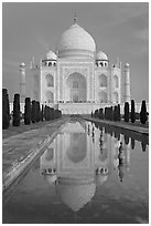Taj Mahal and reflecting pool, morning. Agra, Uttar Pradesh, India (black and white)