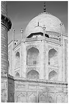 Base, dome, and minaret, Taj Mahal. Agra, Uttar Pradesh, India (black and white)