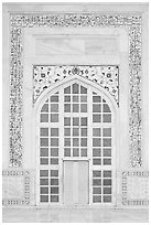 Door in pishtaq decorated with caliligraphy. Agra, Uttar Pradesh, India (black and white)