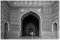 Main hall of Taj Mahal masjid. Agra, Uttar Pradesh, India (black and white)