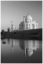 Taj Mahal reflected in Yamuna River. Agra, Uttar Pradesh, India (black and white)