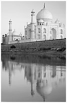 Taj Mahal and Jawab reflected in Yamuna River, sunset. Agra, Uttar Pradesh, India (black and white)