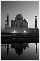 Taj Mahal over Yamuna River at dusk. Agra, Uttar Pradesh, India (black and white)