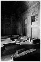Tombs, including Islam Khan's in the Jama Masjid mosque. Fatehpur Sikri, Uttar Pradesh, India ( black and white)