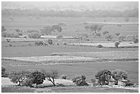 Fields in countryside. Fatehpur Sikri, Uttar Pradesh, India (black and white)